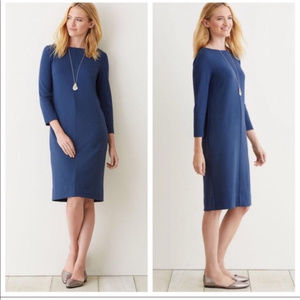 J. Jill Blue PONTE Stretch Knit Pockets Dress